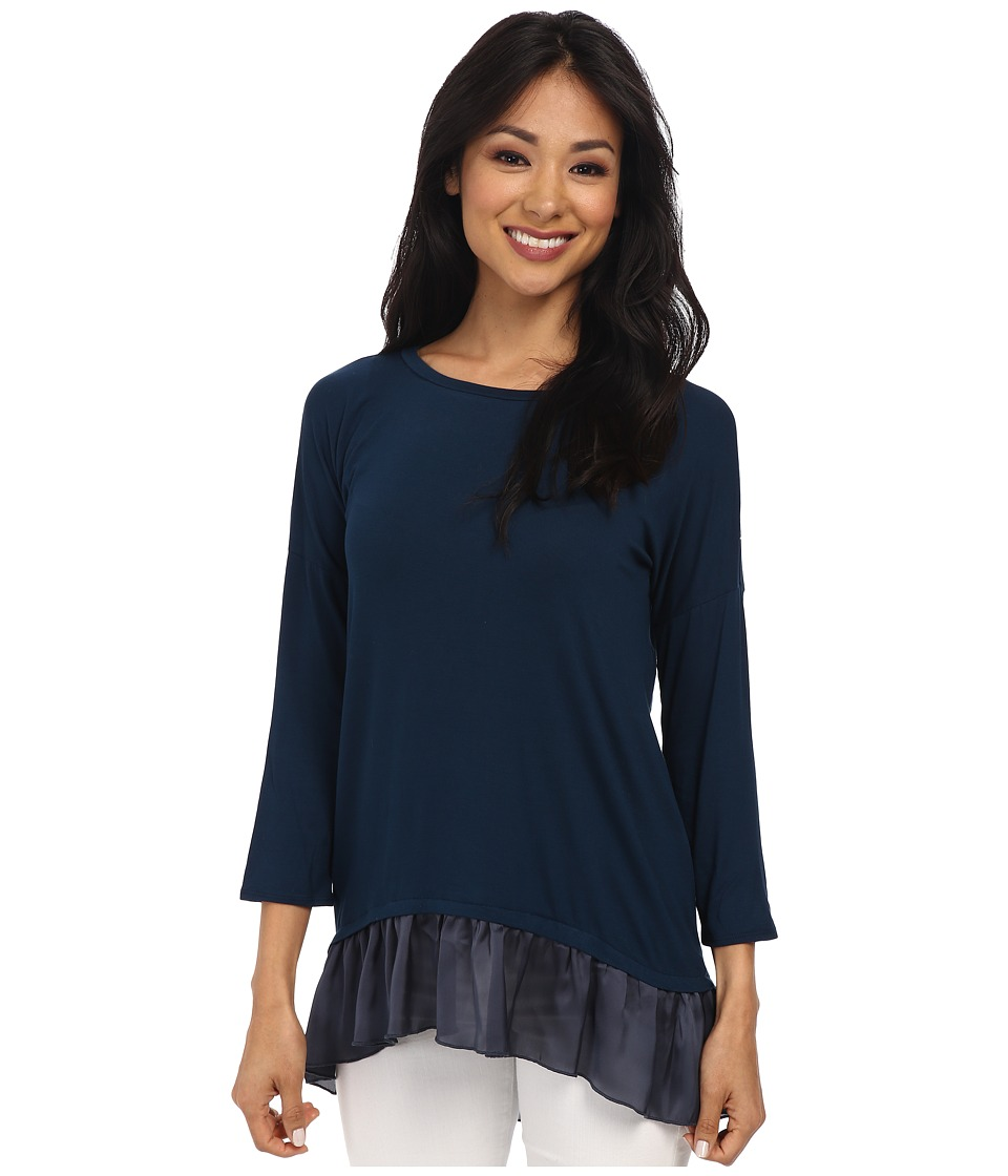 Dylan by True Grit - 3/4 Sleeve Long Ruffle Hem Top (Navy) Women's Clothing