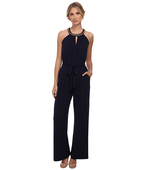 Vince Camuto - Sleeveless Jumpsuit with Keyhole Front and Back (Navy) Women's Jumpsuit & Rompers One Piece