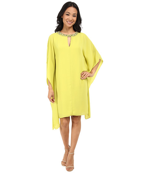Vince Camuto - Chiffon Dress with Beaded Neckband (Citron) Women's Dress