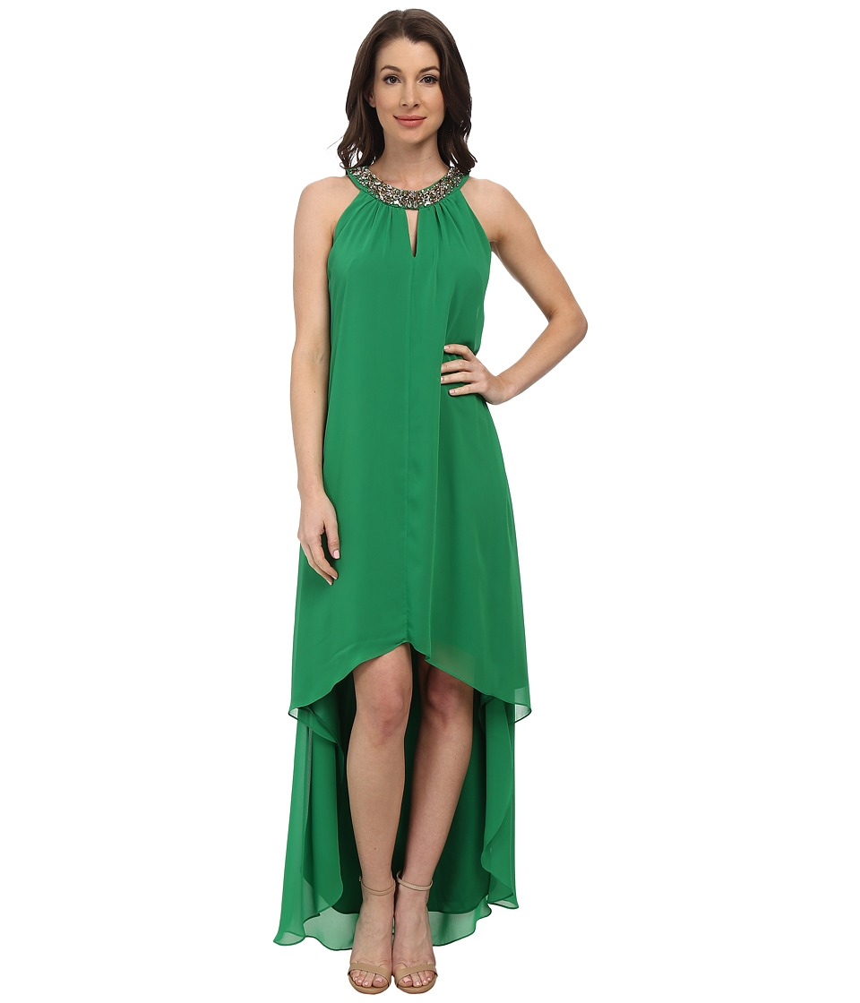 Vince Camuto - Hi-Lo Chiffon Dress with Beaded Neckband (Green) Women's Dress