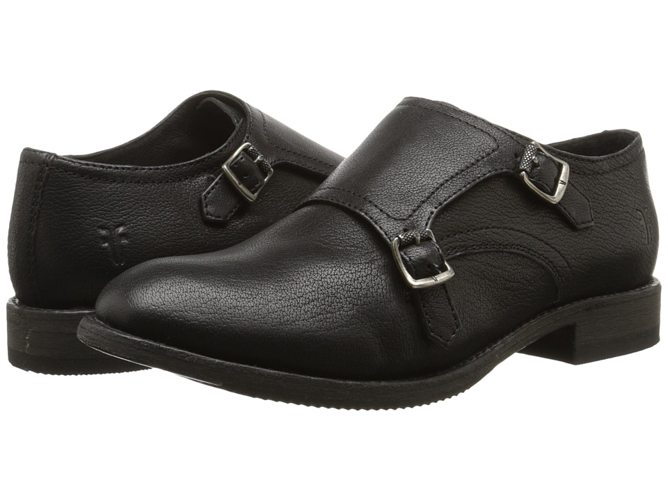 Frye - Ethan Double Monk (Black Buffalo Leather) Women