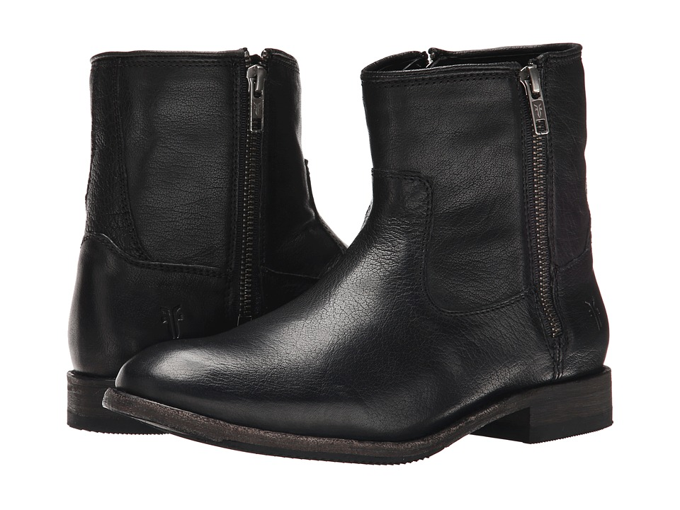 Frye Ethan Double Zip (Black Buffalo Leather) Women