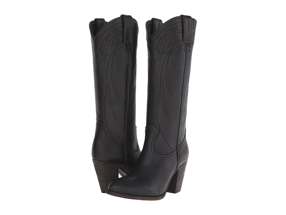 Frye - Ilana Pull On (Black Washed Oiled Vintage) Cowboy Boots