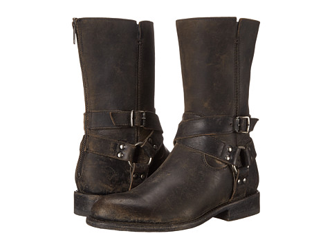 Frye - Jayden Harness Zip (Black Smooth Stonewash) Cowboy Boots