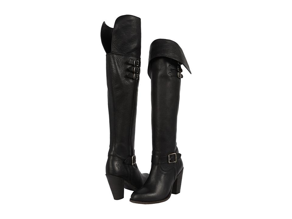 Frye - Jenny Belted OTK (Black Washed Oiled Vintage) Cowboy Boots
