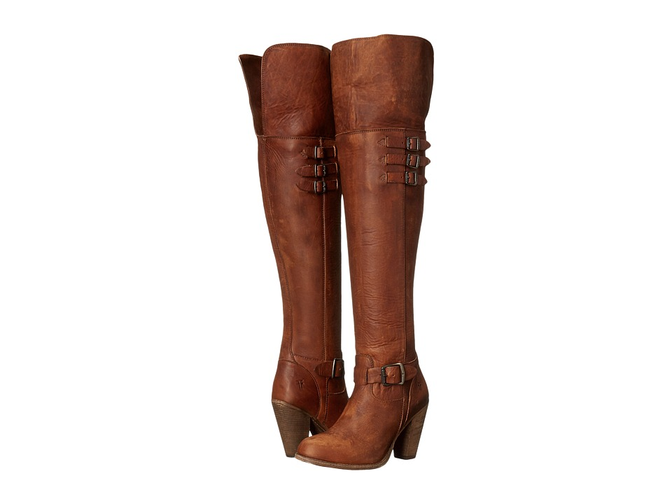 Frye Jenny Belted OTK (Cognac Washed Oiled Vintage) Cowboy Boots