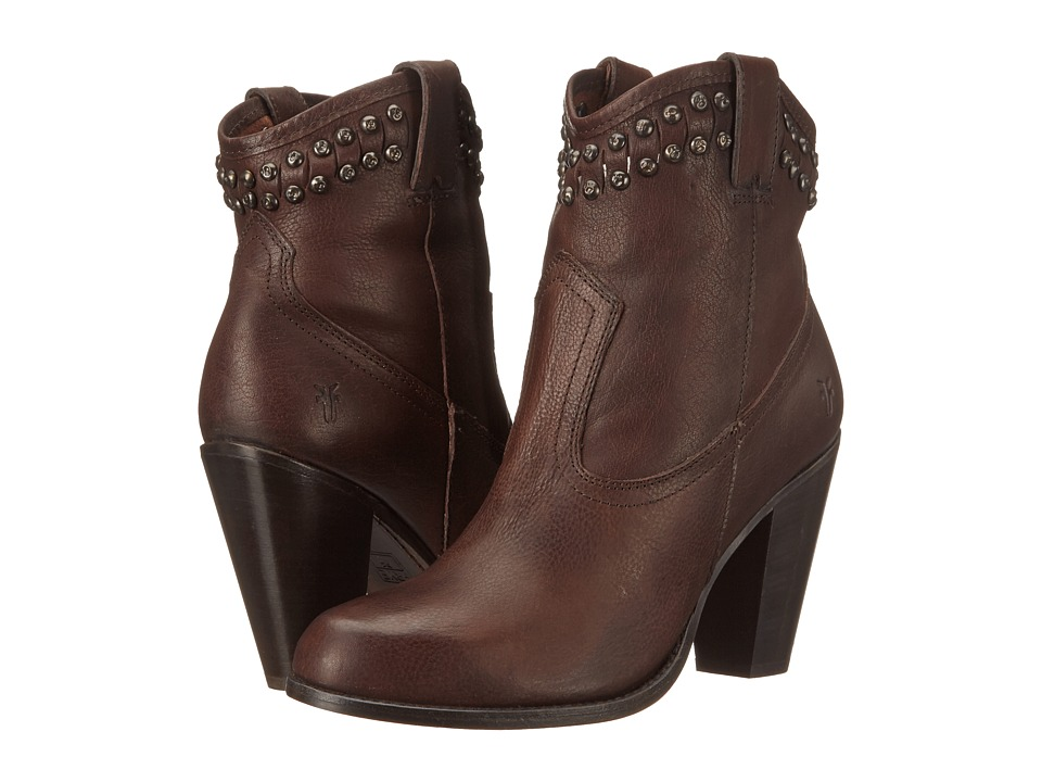 Frye Jenny Cut Stud Short (Dark Brown Washed Vintage) Cowboy Boots