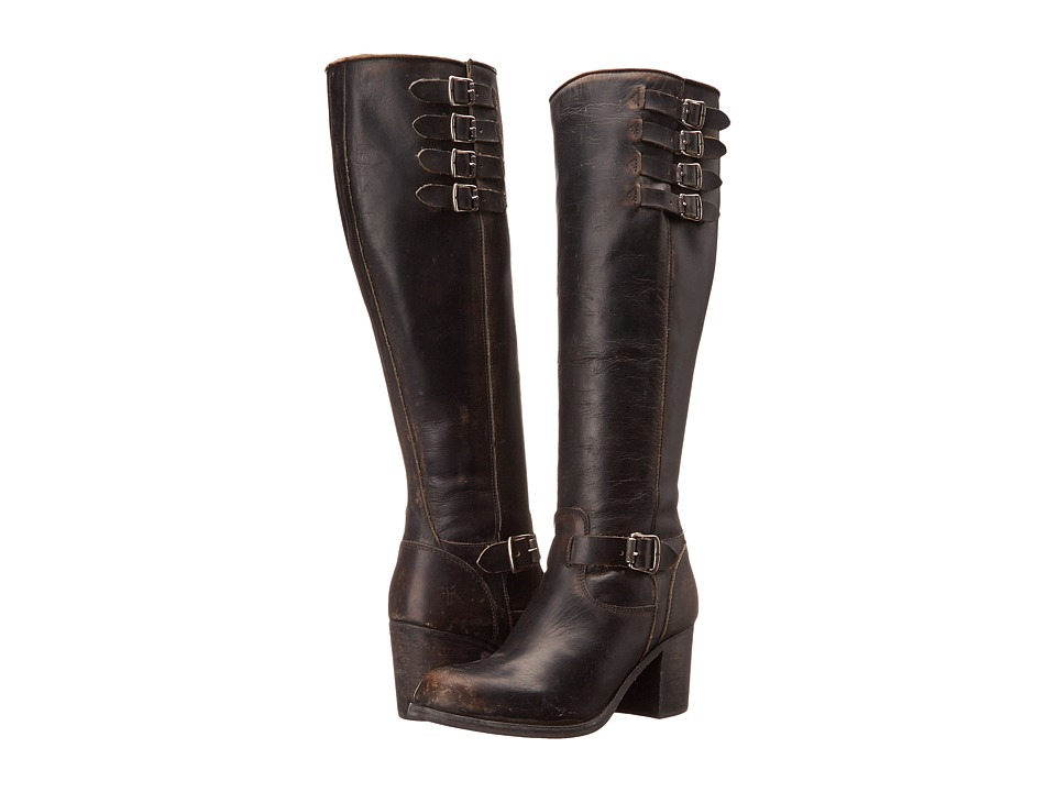Frye Kelly Belted Tall (Black Stonewash) Cowboy Boots