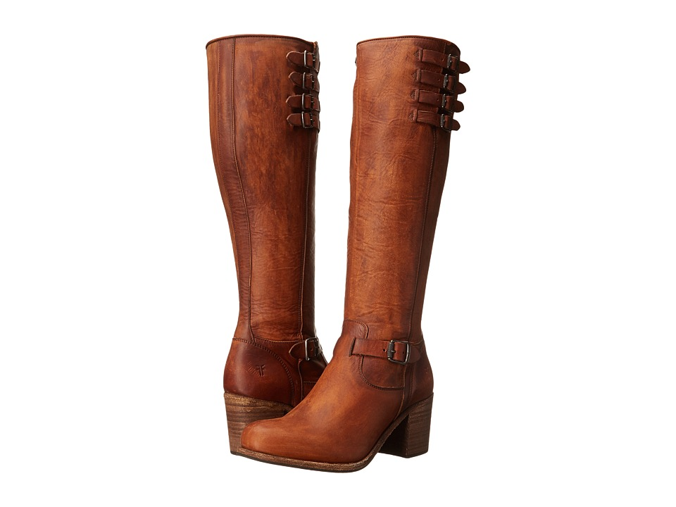 Frye Kelly Belted Tall (Cognac Washed Oiled Vintage) Cowboy Boots