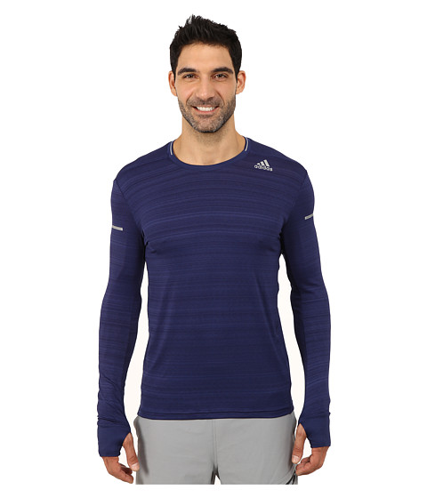adidas - Sequencials Heathered Long Sleeve Tee (Midnight Indigo) Men's Workout
