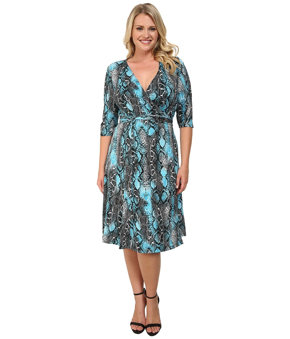 Kiyonna - Essential Wrap Dress (Slithering Skies) Women's Dress