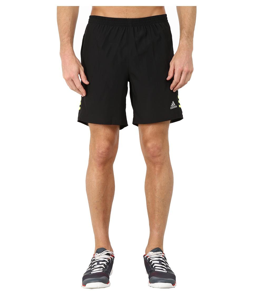 adidas - Response 7 Shorts (Black/Solar Yellow) Men's Workout