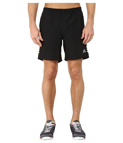 adidas - Response 7 Shorts (Black/Solar Yellow) Men's Workout