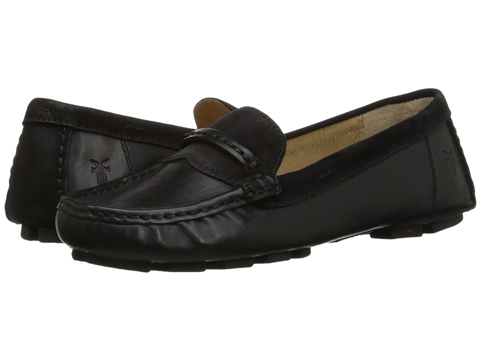 Frye - Reagan Stitch Keeper (Black Smooth Vintage Leather/Oiled Suede) Women's Slip on Shoes