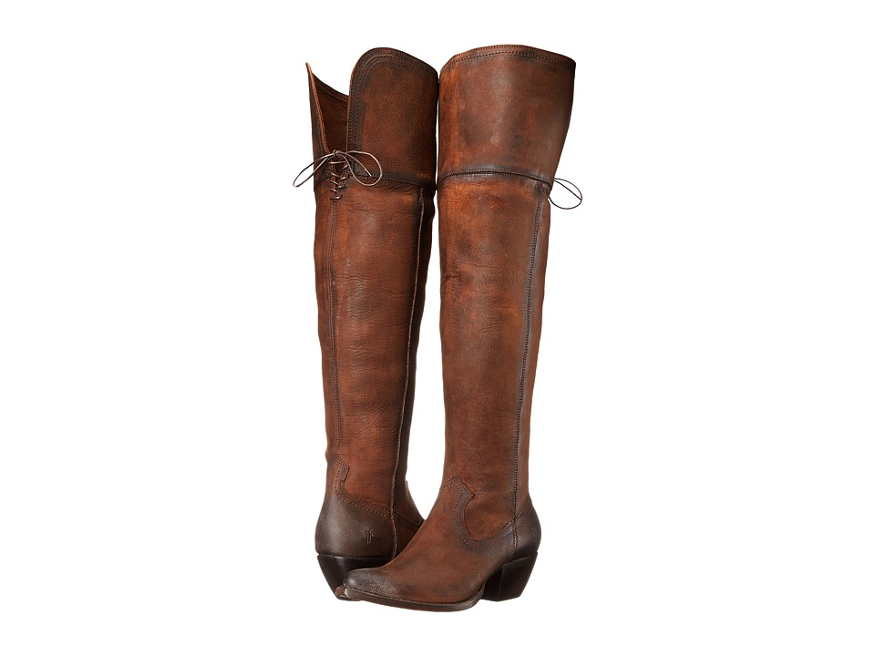 Frye - Sacha OTK (Dark Brown Soft Antique Pull Up) Cowboy Boots