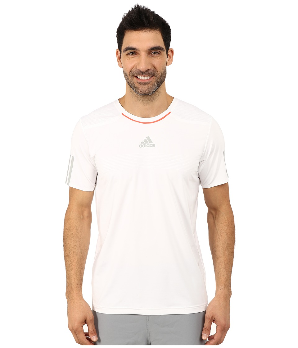 adidas - Barricade Tee (White/MGH Solid Grey/Solar Red) Men's T Shirt
