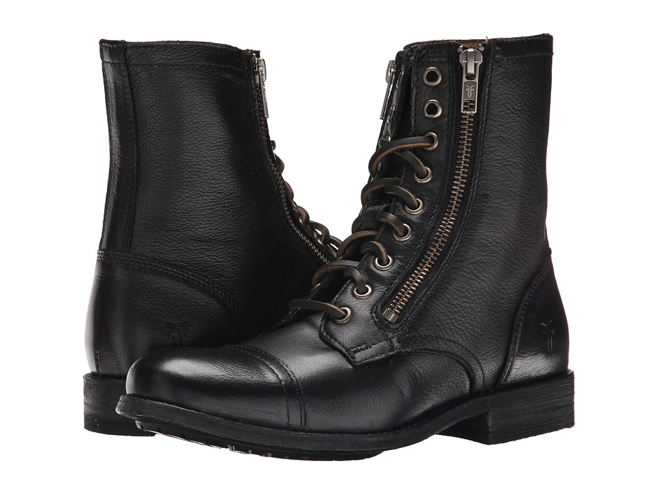 Frye Tyler Double Zip (Black Soft Vintage Leather) Women