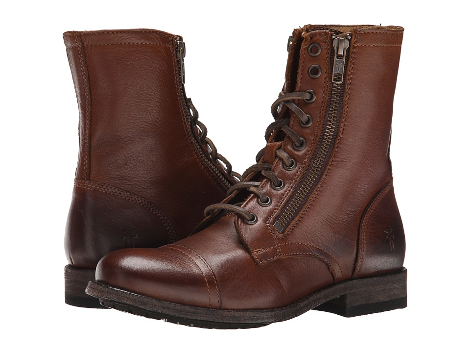 Frye - Tyler Double Zip (Cognac Soft Vintage Leather) Women's Lace-up Boots