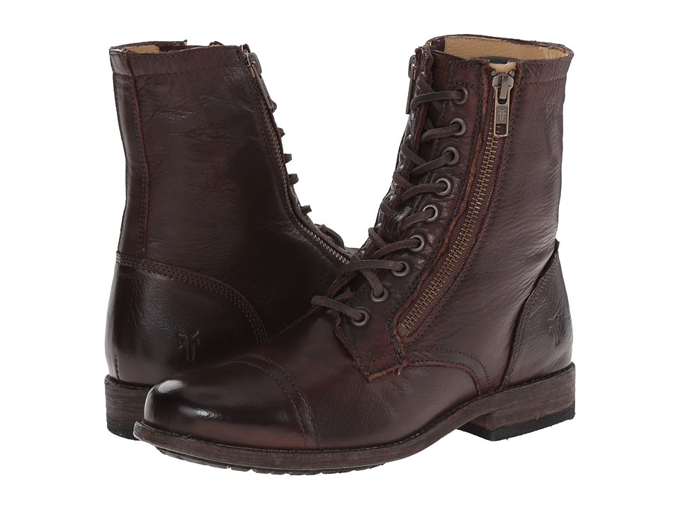 Frye - Tyler Double Zip (Dark Brown Soft Vintage Leather) Women's Lace-up Boots
