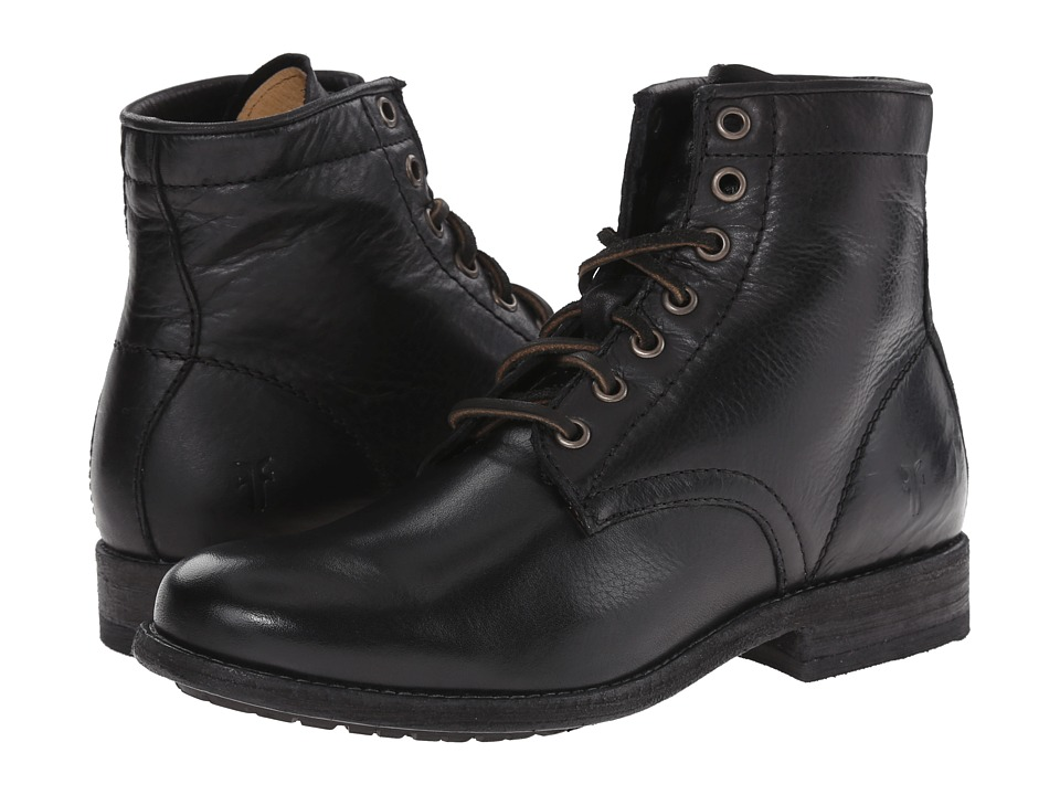 Frye - Tyler Lace Up (Black Soft Vintage Leather) Women's Lace-up Boots