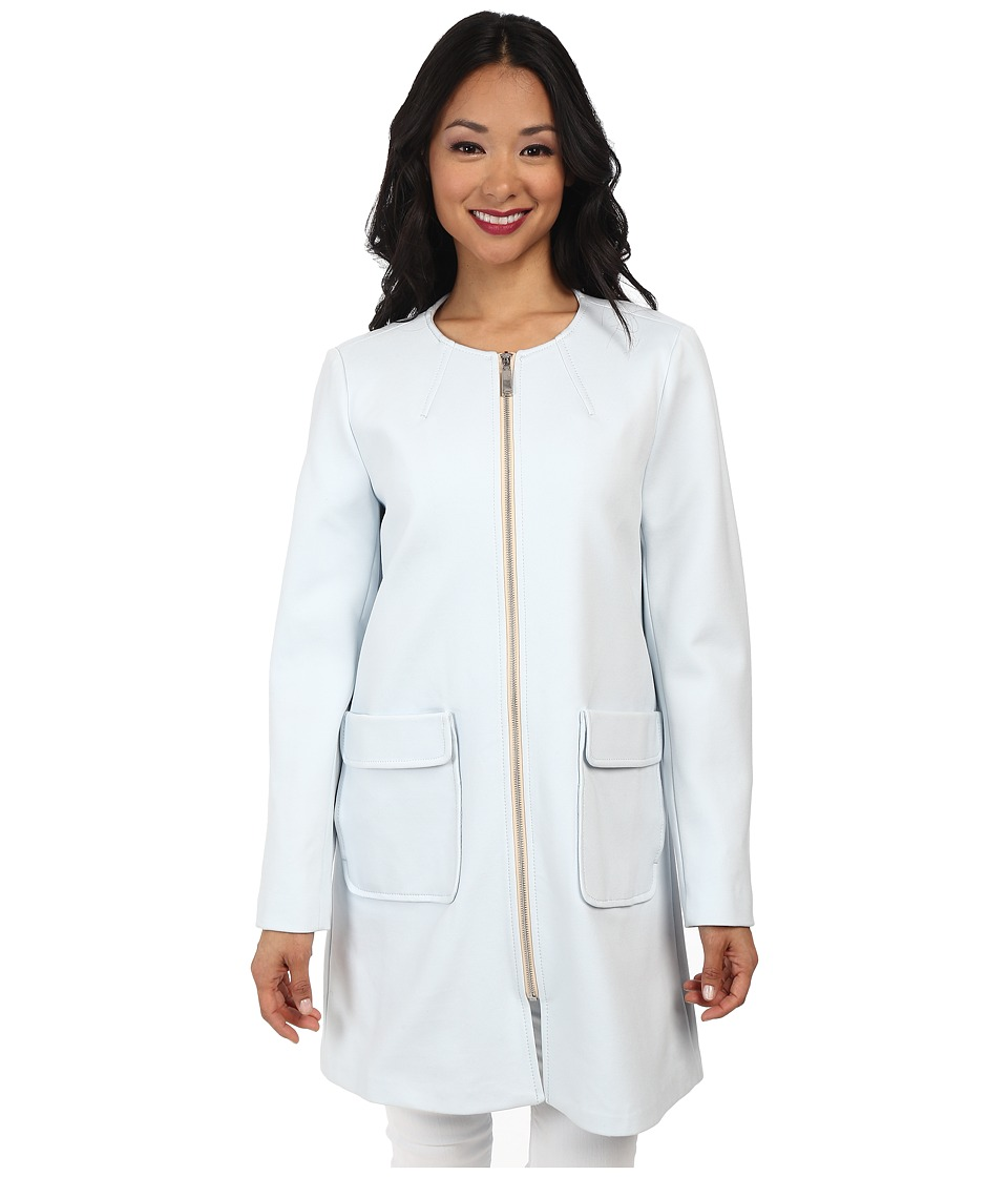 Vince Camuto - Straight Coat Exposed Ponti (Pale Blue) Women
