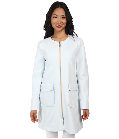 Vince Camuto - Straight Coat Exposed Ponti (Pale Blue) Women's Coat