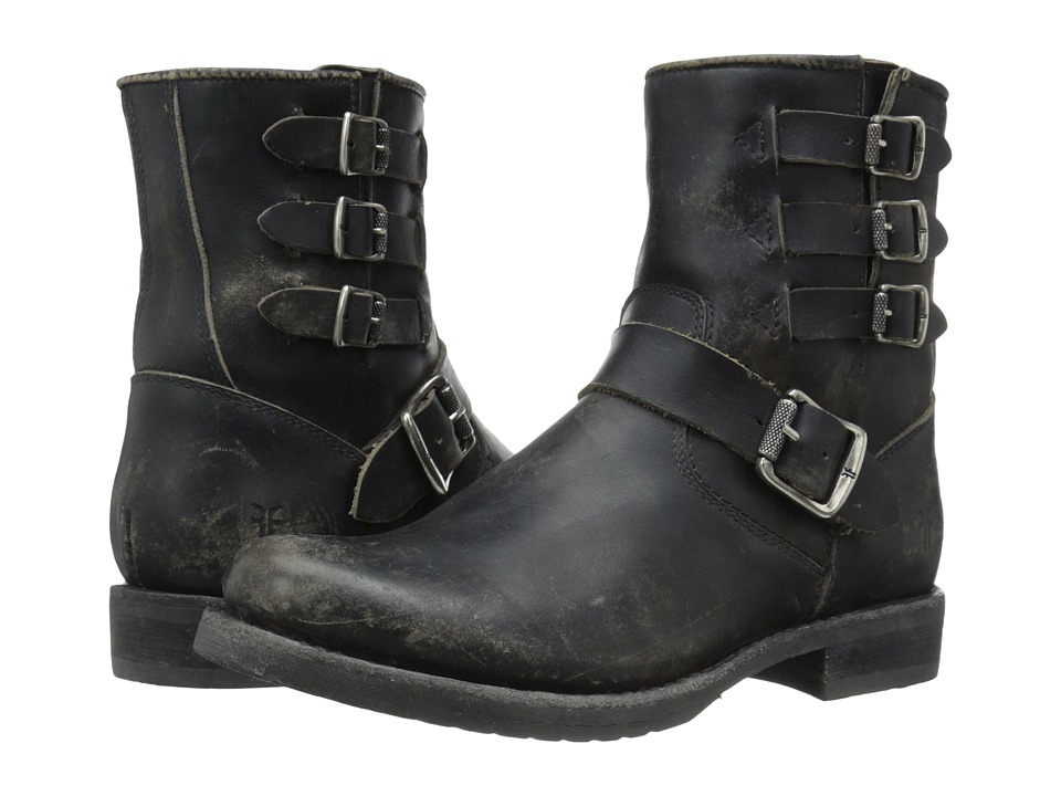 Frye - Veronica Belted Short (Black Stonewash) Cowboy Boots