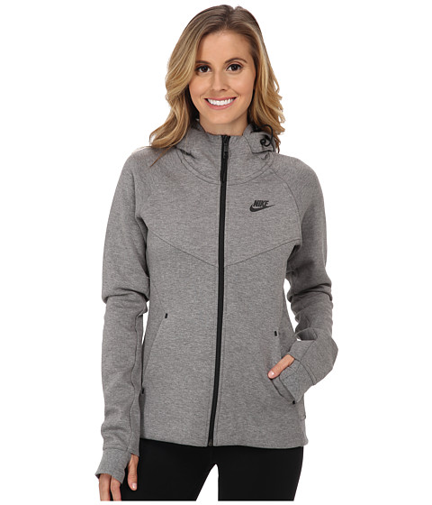 Nike - Tech Fleece Full-Zip Hoodie (Carbon Heather/Black) Women's Sweatshirt