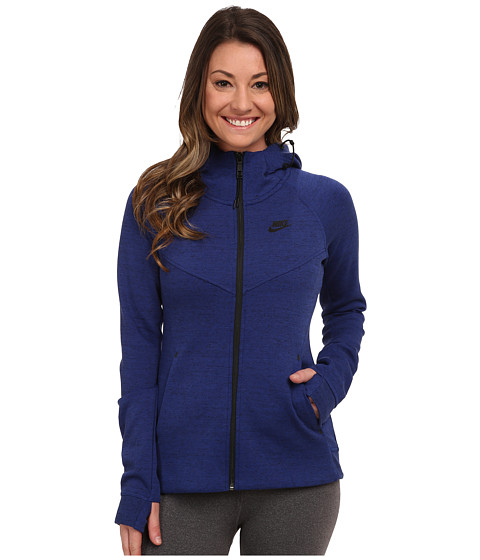 Nike - Tech Fleece Full-Zip Hoodie (Deep Royal Blue/Heather/Black) Women's Sweatshirt