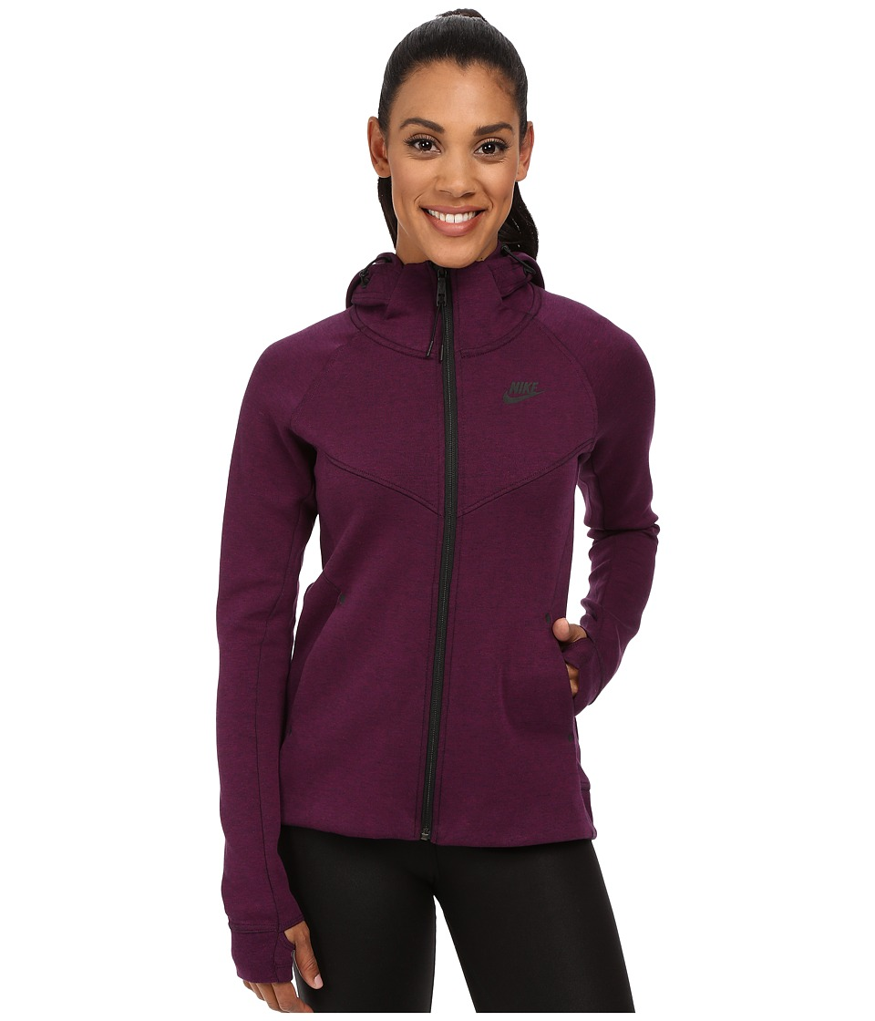 Nike - Tech Fleece Full-Zip Hoodie (Mulberry/Heather/Black) Women