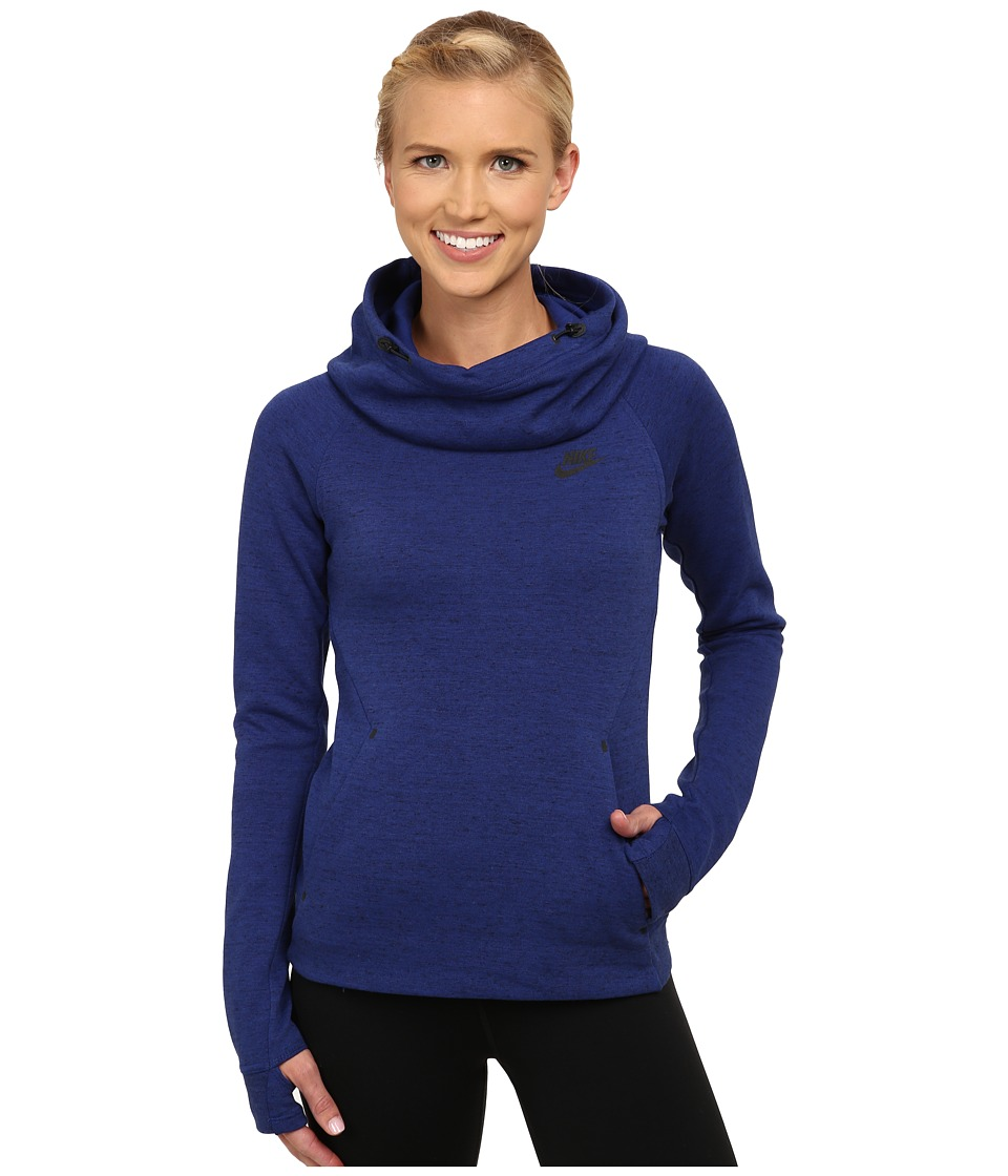Nike - Tech Fleece Hoodie (Deep Royal Blue/Heather/Black) Women's Sweatshirt