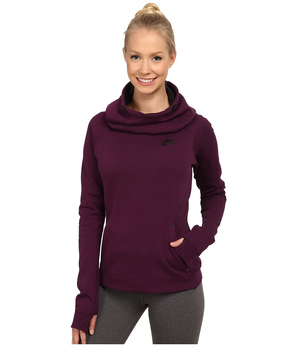 Nike - Tech Fleece Hoodie (Mulberry/Heather/Black) Women's Sweatshirt