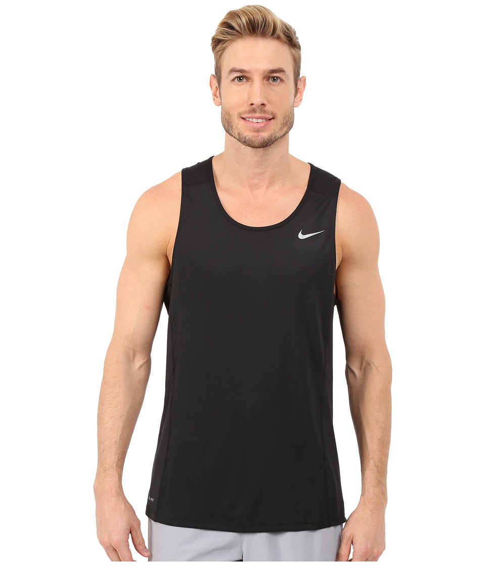 Nike - Dri-FITtm Miler Running Singlet (Black/Reflective Silver) Men's Workout