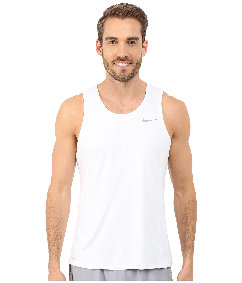 Nike - Dri-FIT Miler Running Singlet (White/Reflective Silver) Men's Workout