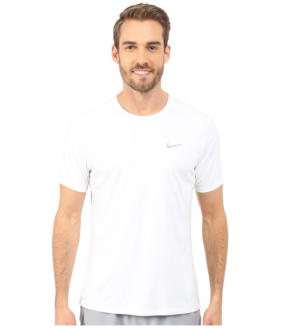 Nike - Dri-FITtm Miler Running Shirt (White/Reflective Silver) Men's Workout