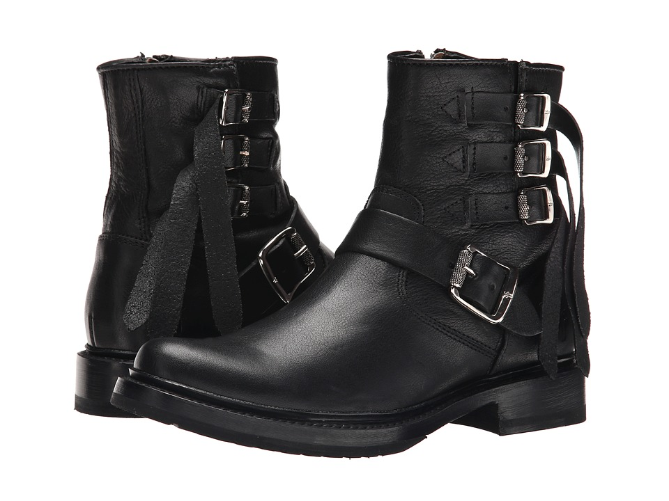 Frye - Veronica Strap Short (Black Tumbled Full Grain) Cowboy Boots