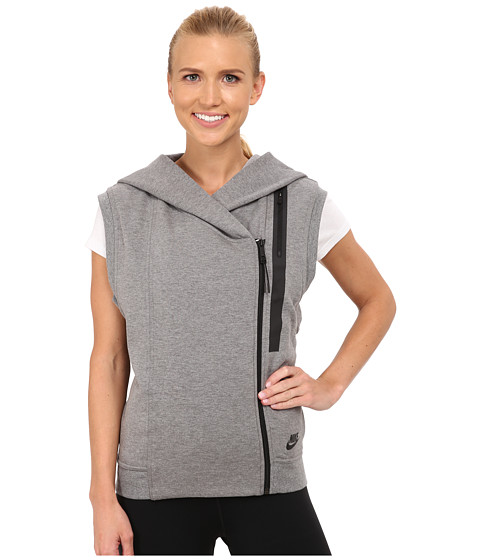 Nike - Tech Fleece Vest (Carbon Heather/Black) Women's Jacket