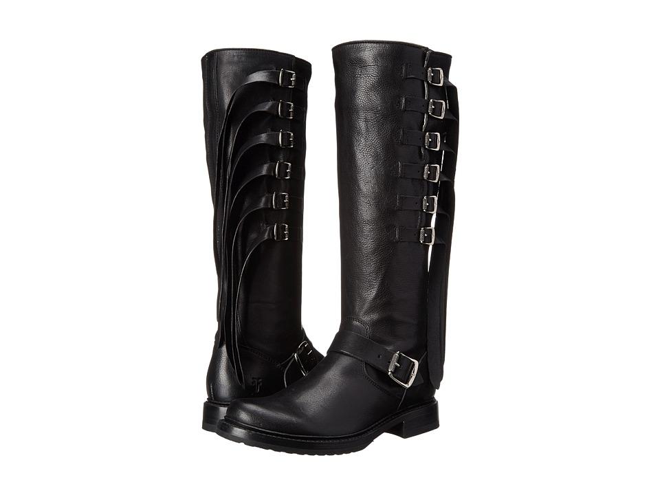 Frye Veronica Strap Tall (Black Tumbled Full Grain) Cowboy Boots
