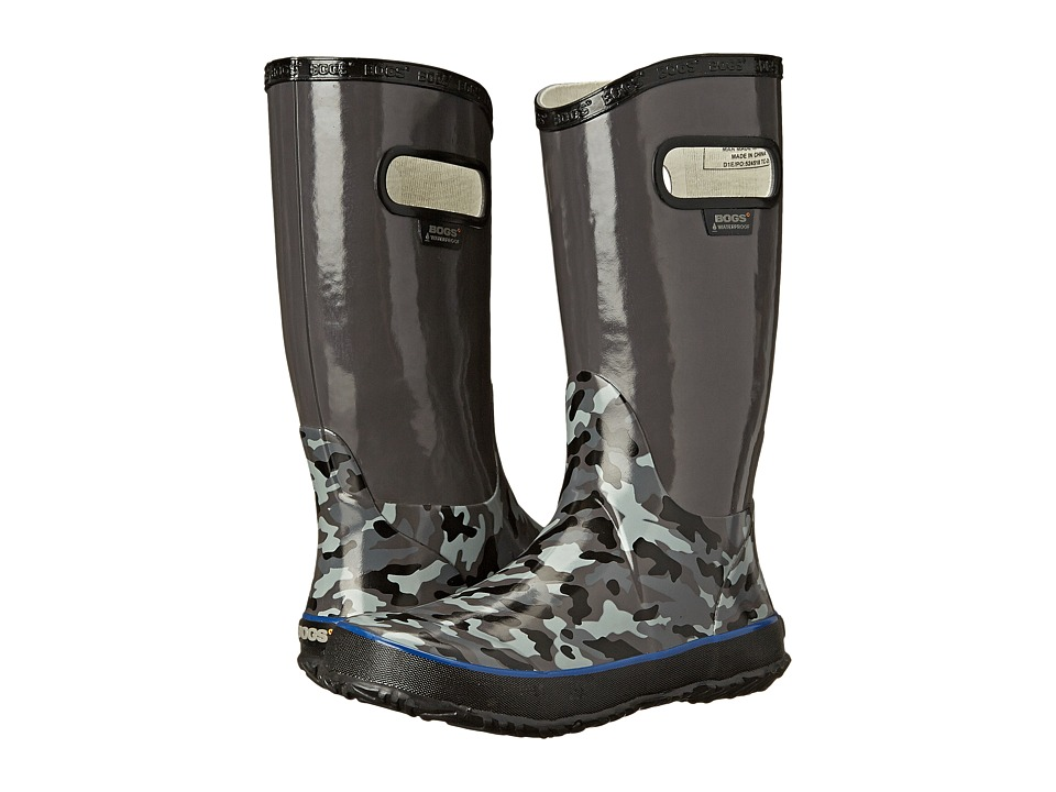 Bogs Kids - Rain Boot Small Camo (Toddler/Little Kid/Big Kid) (Dark Grey Multi) Boys Shoes