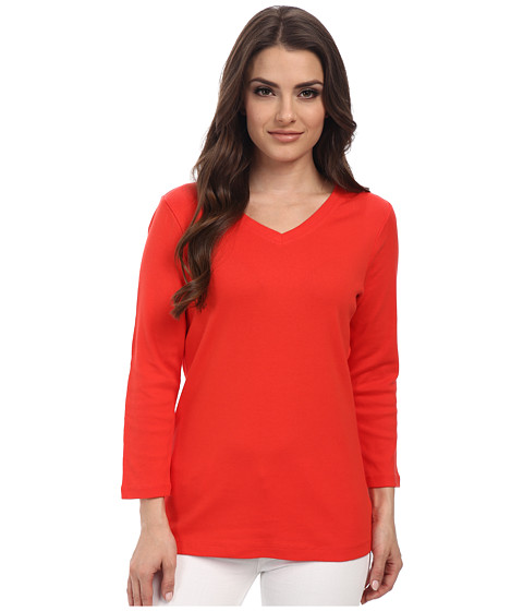 Pendleton - Petite 3/4 Sleeve Rib Tee (Poppy Red) Women's Long Sleeve Pullover