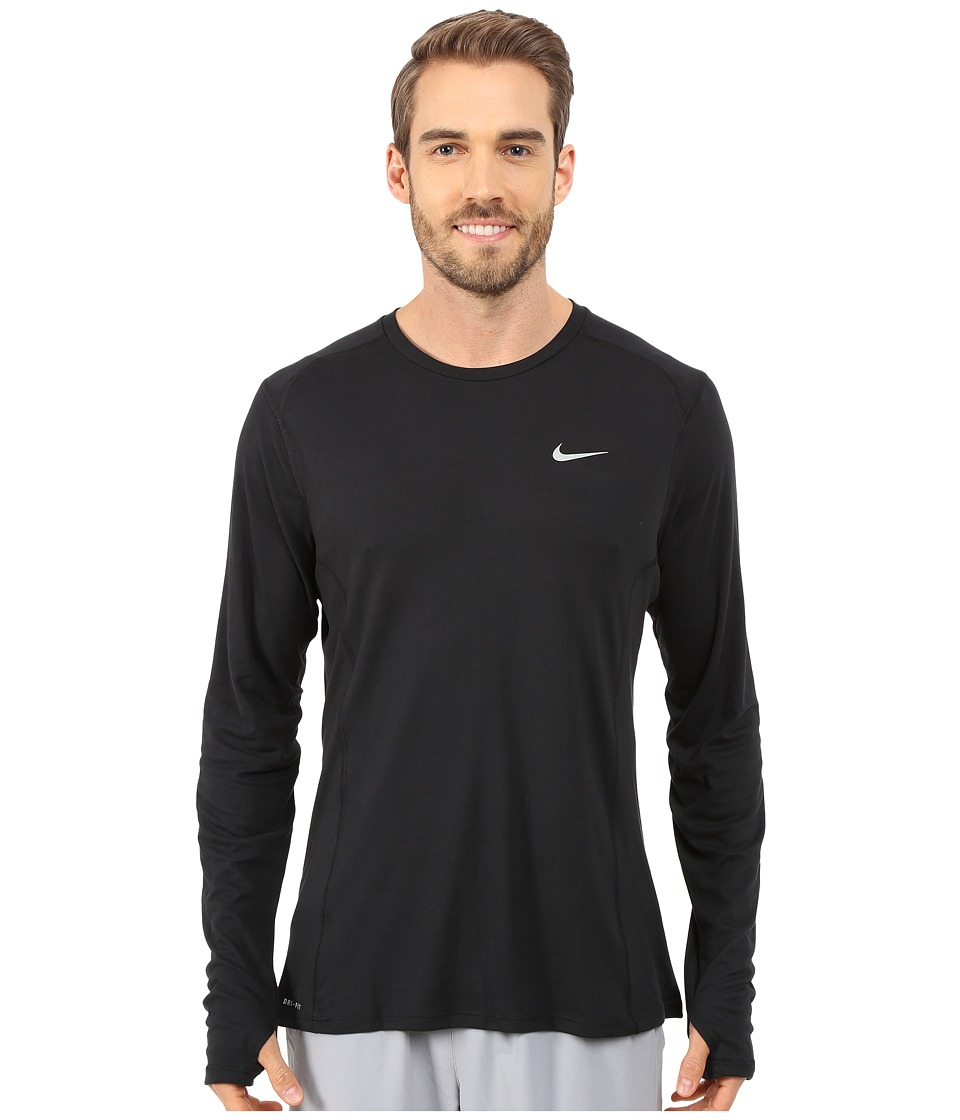 Nike - Dry Miler Long Sleeve Running Top (Black/Reflective Silver) Men's Workout