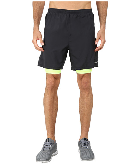 Nike - 7 Pursuit 2-in-1 Shorts (Black/Black/Volt/Reflective Silver) Men