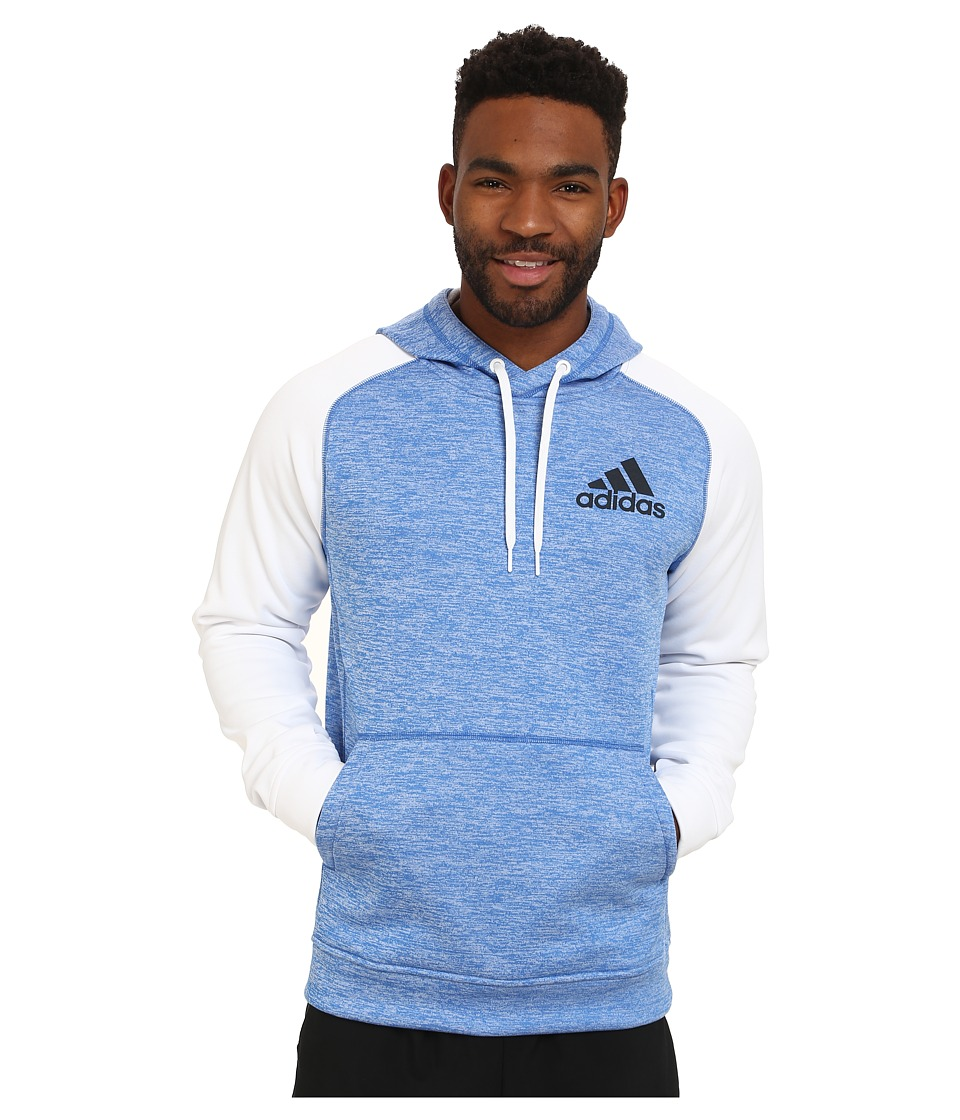 adidas - Team Issue Fleece Pullover Hoodie (Blue Heather/White Soild (Sleeves)/Dark Grey) Men's Sweatshirt