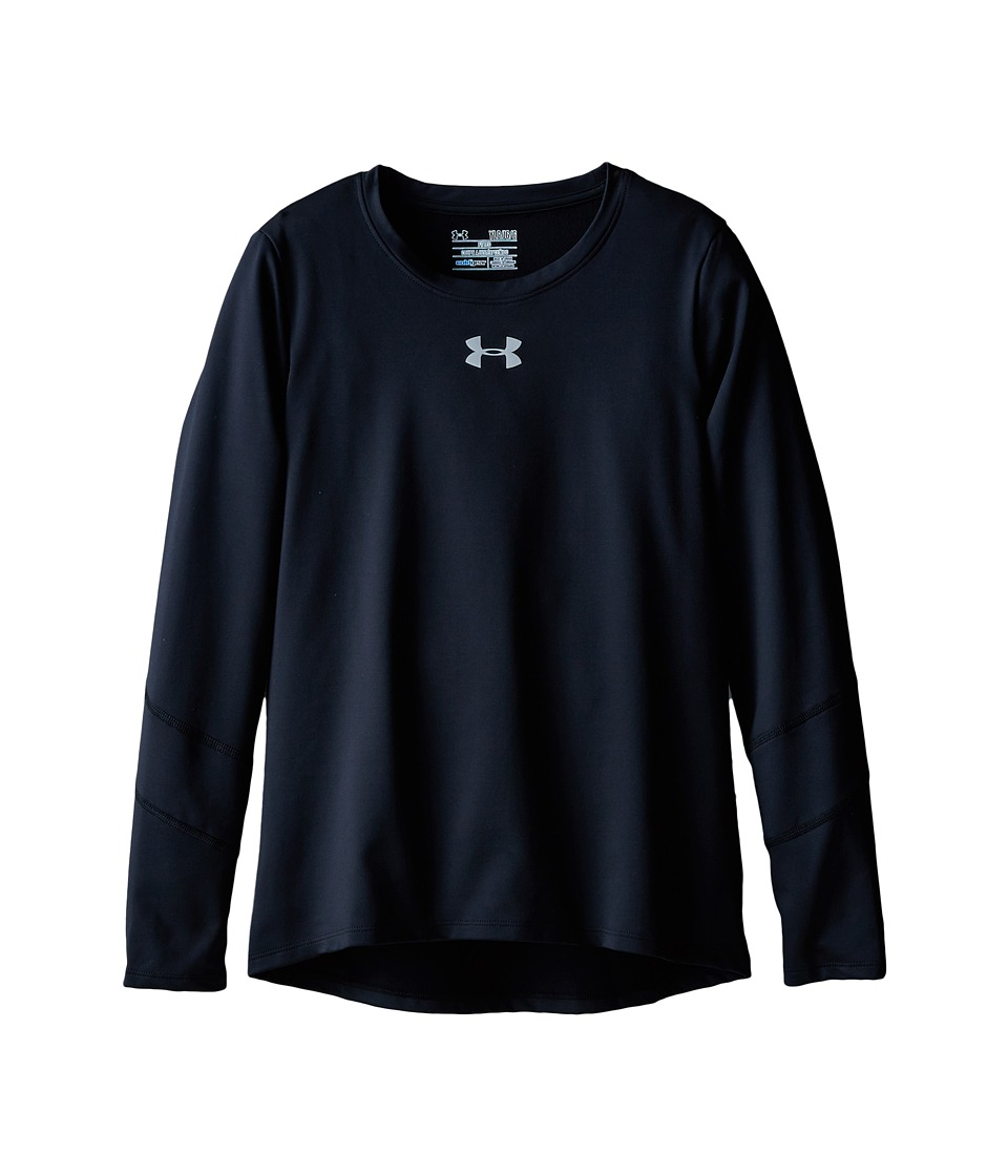 Under Armour Kids - UA Coldgear(r) Long Sleeve (Big Kids) (Black/Black/Reflective) Girl's Long Sleeve Pullover