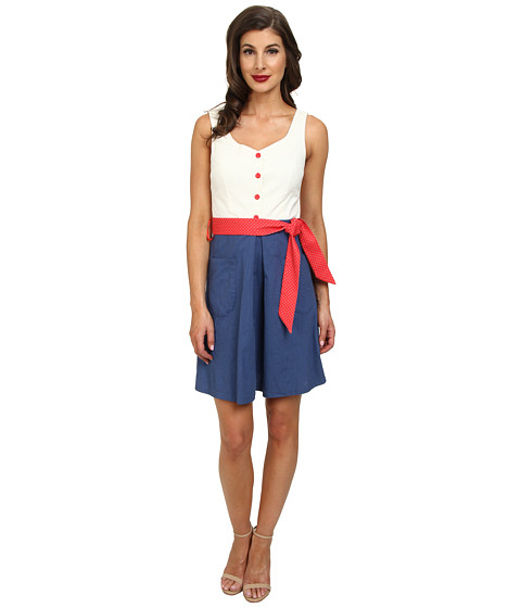 Unique Vintage - The Shoreline Dress (White/Navy Colorblock) Women