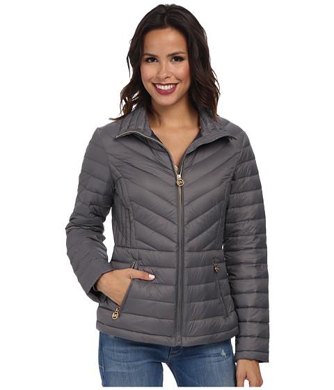 MICHAEL Michael Kors - Diamond Quilt Coat (Slate) Women's Coat