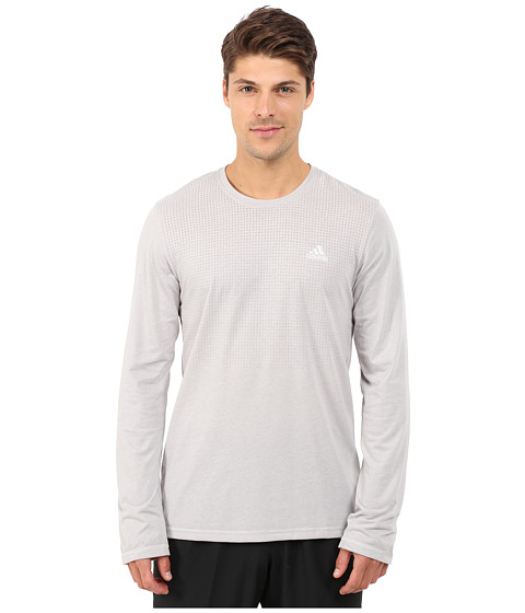 adidas - CLIMACOOL Aeroknit Long Sleeve Tee (MGH Solid Grey Heather) Men's Long Sleeve Pullover