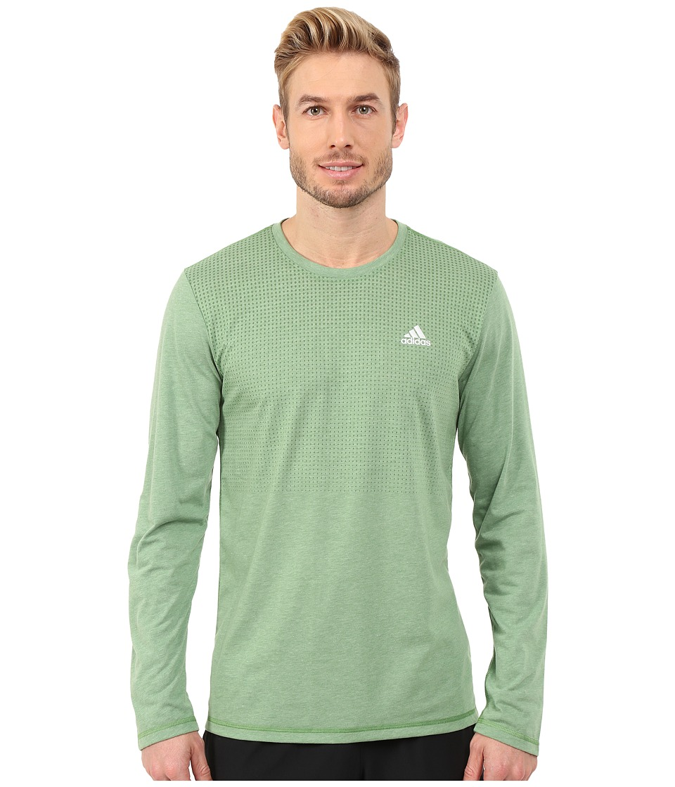 adidas - CLIMACOOL Aeroknit Long Sleeve Tee (Raw Green Heather) Men's Long Sleeve Pullover