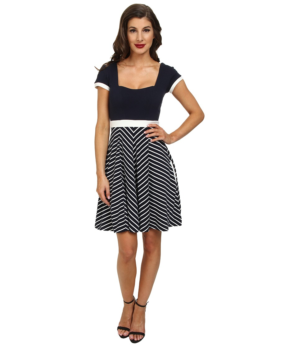 Unique Vintage - Baltimore Knit Dress (Navy w/ White Stripe) Women's Dress