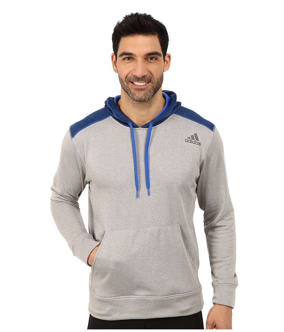 adidas - Ultimate Fleece Pullover Hoodie (Medium Grey Heather/Blue Overdye) Men's Fleece